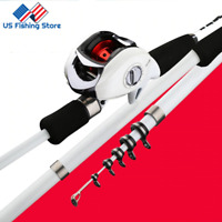 Baitcasting Carbon Fiber Telescopic Fishing Rod Casting Fishing Rod Pole Lure US