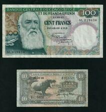 2 billet de banque 10 Francs Rwanda Burundi &100 francs congo belge - 1960.