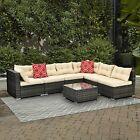 YITAHOME 7PCS Patio Wicker Outdoor Rattan Sofa Furniture Garden Conversation Set