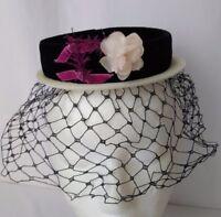 Vtg Womens Hat Fascinator Veil Netting Black White Pink Flower Velvet Skull Cap