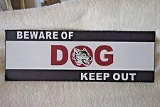 Blechschild Hinweißschild BEWARE-OF-DOG-KEEP-OUT Retro Antik Look 12 x 35 cm NEU