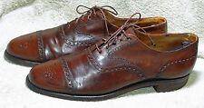 PEAL & CO FOR BROOKS BROTHERS BROWN LEATHER BROGUE OXFORD SHOES ABOUT 9.5D