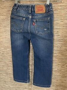 Levis 514 Slim Straight Jeans Boy Toddler Size 24 Elastic Knit Waist Blue