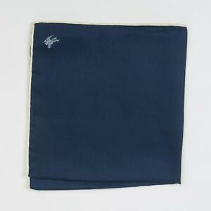 Burberry London New Navy Blue White Border Knight Logo 100% Silk Pocket Square