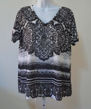 AVENUE Women's Black White Paisley Beaded Front Short Sleeve Tunic Size 14/16