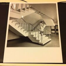 VINTAGE 8X10 BLACK AND WHITE PHOTO WOMAN ON STAIRCASE