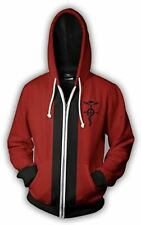 Fullmetal Alchemist Ed Edward Elric Red Cosplay Zipped Hoodie *STOCK IN UK*