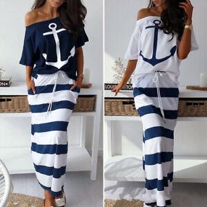 Women Ladies Casual Sailor Top Ruffle Long Maxi Dress Skirt Set Summer Sundress