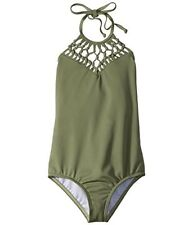 New Billabong Kids Macrame One Piece Swim Suit Size 8 Olive Green