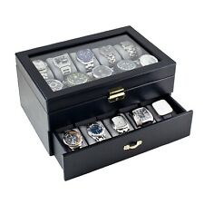 Custom Engraved Personalized Gift For Men Watch Box Men's Leatherette Glass Top