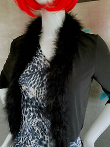 Calvin Klein, elegante Bolero Jacke, schwarz, ungetragen, Federkragen, Gr. M