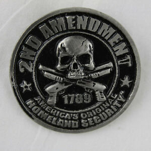 Biker Chopper Security USA Shotgun Skull Totenkopf Pin Anstecker Anstecknadel