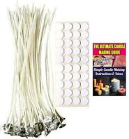 Cozyours 8 Inch Candle Wicks with Wick Stickers 50/50-Pack for Candle Making,
