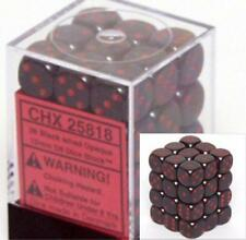 Chessex Dice d6 Sets Opaque Black with Red 36 12mm Six Sided Die CHX 25818