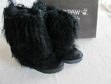 Bearpaw Boetis II- Curly Lamb's Fur & Wool -Black-Size 5 EU 36-New in Box