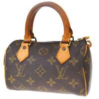 Authentic LOUIS VUITTON Mini Speedy Hand Bag Monogram Leather M41534 84MF491