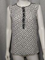 Ann Taylor Loft Womens Sz Petite Small Black White Half Button Cap Sleeve Shirt