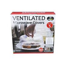 Set of 5 Food Safe Plastic Microwave Dome Plate Lid Dish Cover Splatter Proof