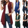 Women Sleeveless Draped Sleeveless Cardigan Vest Shirt Asymmetrical Hem Top Coat