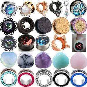 Turquoise Opal Stone Heavy Ear Weight Tunnel  Gauges Expander Lightweight Plugs