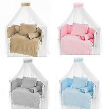 VELVET 6-tlg Baby Baldachin Nestchen Bettset Bettwäsche 90×40 für Beistellbett