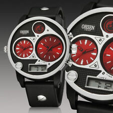 Ohsen Mens Digital Military Army Sport Dual Time Zone Date/day Watch Quartz Red