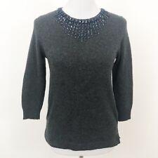 J Crew Jeweled Starburst Sweater Size XS Dark Gray Soft Wool Style 08429
