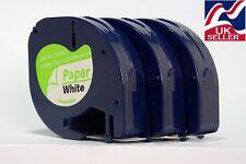 3 X Cartucho De Cinta 91200 Libro blanco 12 Mm Por 4 millones para Dymo Letratag Fabricantes de Etiquetas