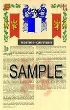 VARNER Armorial Name History - Coat of Arms - Family Crest GIFT! 11x17