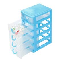 Mini Desktop Drawer Jewelry Necklace Makeup Case Home Storage Organizer Box Blue