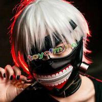 Cosplay Tokio Ghoul Kaneki Máscara fresca de la cremallera ajustable de cuero PU