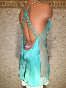 NWT Victoria's Secret S, M Babydoll Chemise Slip Green Satin Lace Very Sexy Lace