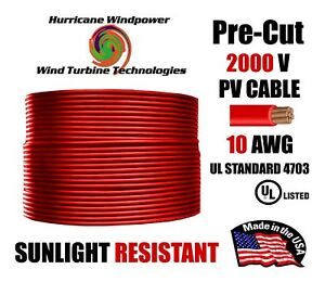 10 AWG Gauge PV Wire 1000/2000 Volt Pre-Cut 15-500 Ft for Solar Installation RED