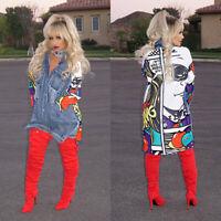 Fashion Women's Graffiti Jean Denim Jacket Long Sleeve Outwear Coat Pockets Tops