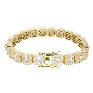 Iced Tennis Solitaire Out VVS Diamond Bracelet 10mm 18K Gold Plated Rapper New