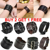 Mens Punk Wide Genuine Leather Belt Wristband Bangle Cuff Bracelet Adjustable US