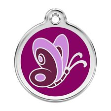 Red Dingo Dog Cat Pet ID Tag Charm FREE Personalized Engraving BUTTERFLY PURPLE
