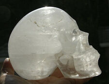 "5"" Gorgeous Rainbows Clear Quartz Crystal Skull  Skeleton Detailed Carved #2484"