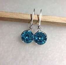 Sterling Silver Authentic Swarovski Crystal Elements Lever Back Earrings 8MCHTNB