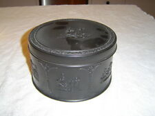 """wedgwood basalt round box with lid. 4 1/2"""" tall by 7 1/4"""" diameter"""