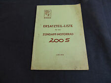 Ersatzteil Liste Katalog Zündapp 200 S Ausgabe 06.1955