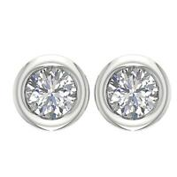 Bezel Set Studs Earrings 0.45 Ct I1 G Round Cut Diamond 14K White Gold Appraisal