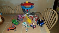 Paw Patrol Lookout Tower Playset with Figures and Vehicles Lot
