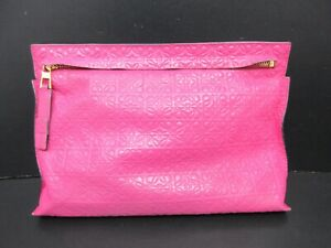 Authentic LOEWE Clutch Bag Nappa Leather Pink 91743
