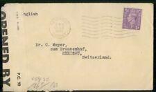 Mayfairstamps Great Britain 1942 Weybridge Censored Switzerland Cover wwh_20655
