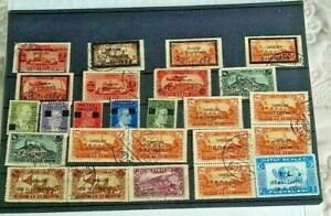 1938 TURKEY SYRIA SANDJAK D'ALEXANDRETTE HATAY  25 STAMPS WITH GOOD CANCELS USED