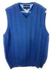 Vintage Tommy Hilfiger Mens Golf Sweater Vest  Medium M Cable Knit Blue V Neck