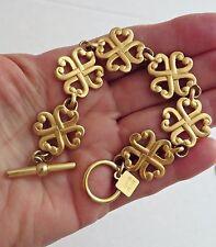 NWOT AK Anne Klein Gold Tone Irish Celtic Lucky 4 Leaf Clover Toggle Bracelet