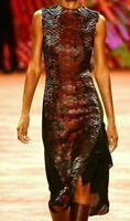 $6950 AKRIS Leather Python Scale Cocktail FIT Museum Runway Dress US 2 4 / FR 36