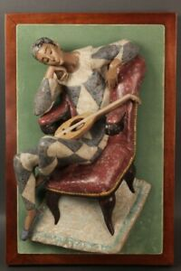 Mounted Lladro Harlequin Wall Plaque: Issued in 1970 Made by Fulgencio Garcia